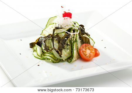 Japanese Cuisine - Cucumbers with Wakame Algae and Ginger Sauce