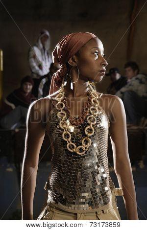 African female breakdancer posing