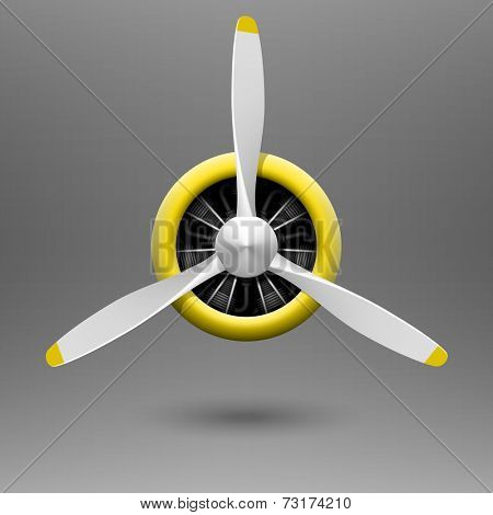 Vintage aircraft propeller with radial engine. Vector.