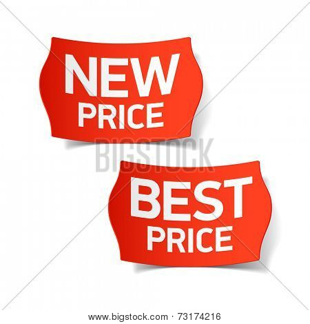 New and best price labels. Vector.