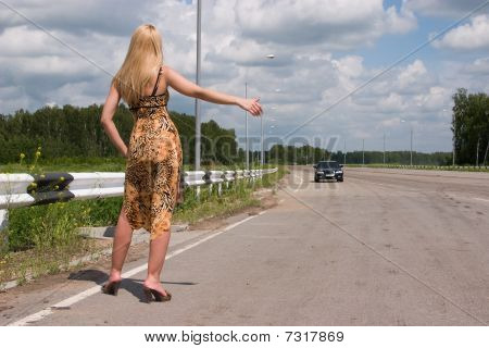 Young Woman Stopping The Car.