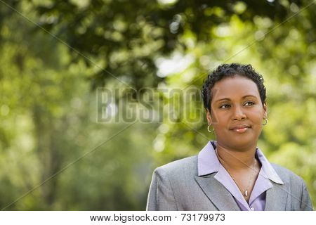 African American businesswoman outdoors