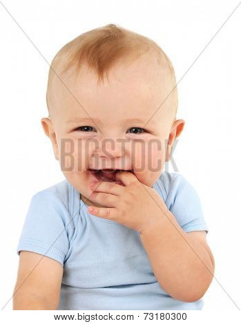 Portrait of cute baby, isolated on white