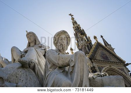 Low angle shot of African statues of the Albert Memorial in Kensington Gardens, in London. It was commissioned by Queen Victoria in memory of her late husband, Prince Alfred, and opened in 1872.