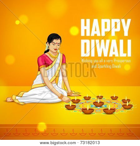 illustration of woman burning diya for Indian festival Diwali