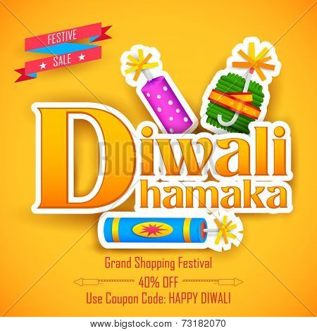 illustration of Diwali Dhamaka (Diwali Offer) for promotion and advertisment