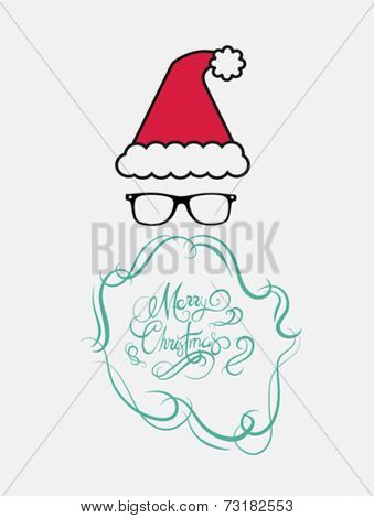 Merry christmas message vector in cursive green with santa hat on white background