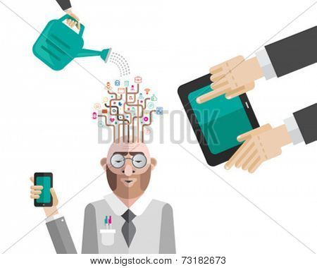 Nurturing business mans ideas vector  on white background