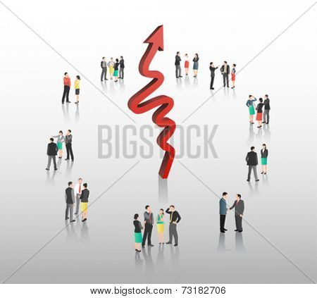 Business people with red arrow on grey background