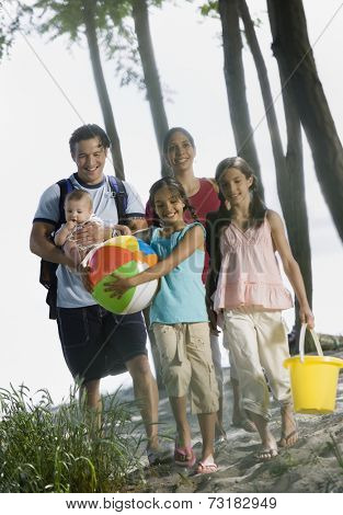 Multi-ethnic family at beach