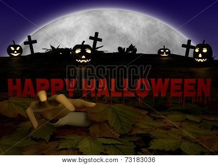 halloween illustration with pumpkin and zombie hand on cementery