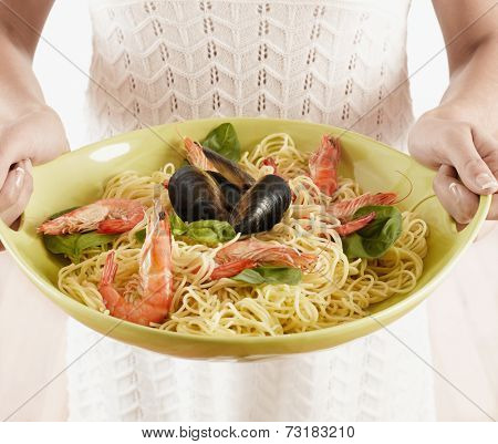 Close up of plate of seafood pasta