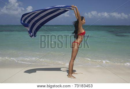 Hispanic woman holding beach blanket in wind