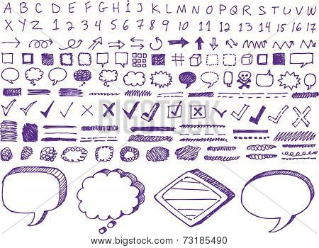 Set of many hand-drawn arrows isolated vector highlighter elements