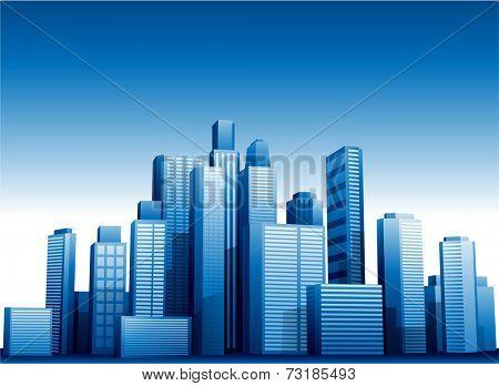 Vector 3d cityscape buildings background eps 10