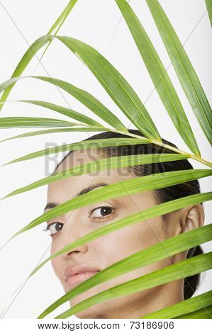 Indian woman behind palm frond
