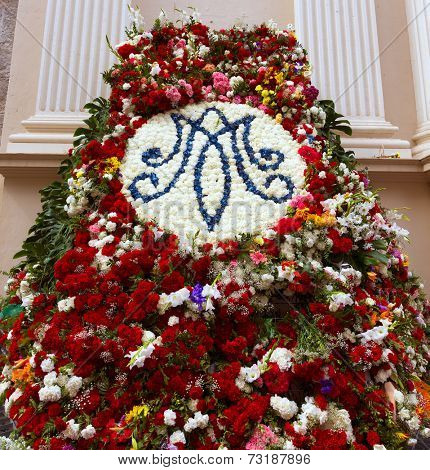Iglesia de la Caridad of Cartagena church fest flowers at spain