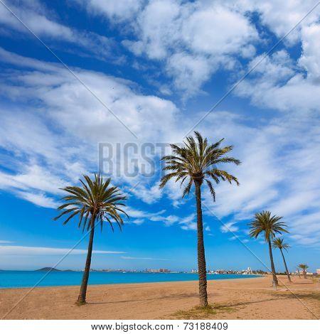 Playa Paraiso beach in Manga Mar Menor Murcia at Spain