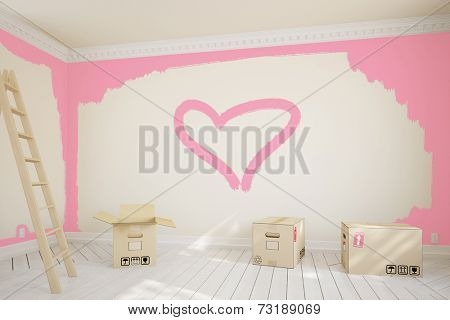 Pink heart painted on wall in room during renovation