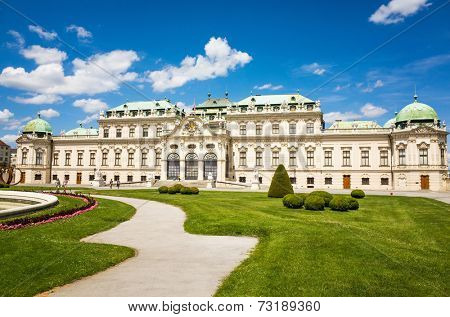 VIENNA, AUSTRIA-July 6 : The Belvedere is a historic building complex in Vienna, Austria, consisting of two Baroque palaces on July 6, 2014.Vienna, Austria