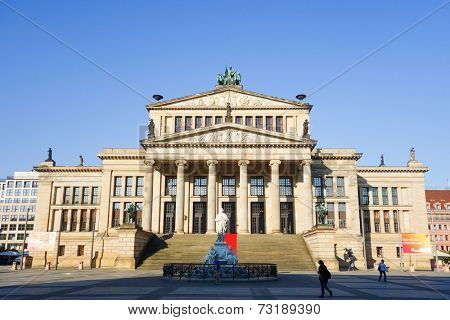 BERLIN, GERMANY- September 18, 2014: The Gendarmenmarkt is a square in Berlin, and the site of the Konzerthaus and the French and German Cathedrals. September 18, 2014 in Berlin