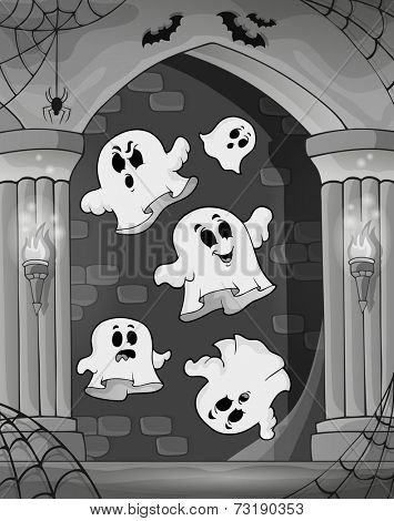 Black and white alcove and ghosts 2 - eps10 vector illustration.