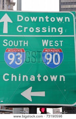 Boston directions sign
