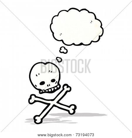 cartoon skull and crossbones with thought bubble