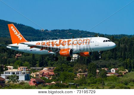 CORFU, GREECE - SEPREMBER 29: An easyJet Airbus A320 taxis on SEPREMBER 29, 2014 in Corfu, Greece. EasyJet is the largest airline of the United Kingdom
