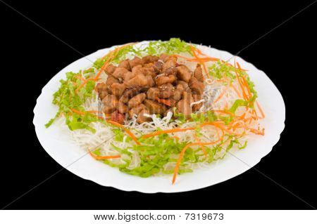 Chinese Food. Fried Pork, Clipping Path.