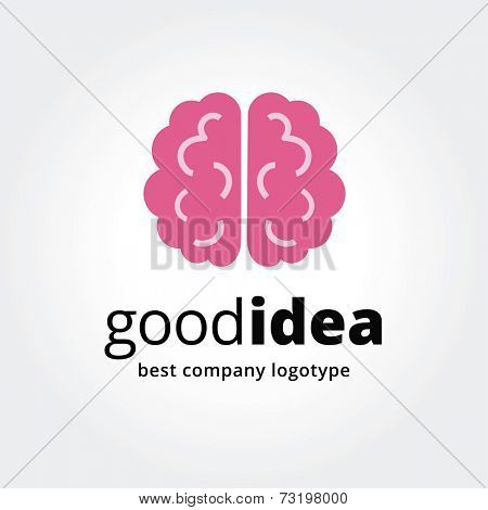 Abstract vector brain logotype concept isolated on white background. Key ideas is business, smart, thinking, brainstorm, design, education, health. Concept for corporate identity and branding