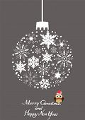 picture of snow owl  - vector Christmas tree snowflake ball with owl in a hat - JPG