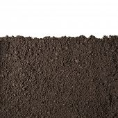 image of farm land  - Soil or dirt section isolated on white background - JPG
