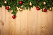 stock photo of fir  - Christmas background with fresh fir - JPG