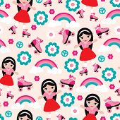 picture of roller-derby  - Seamless disco girl design with seamless rainbow flowers and roller skates background pattern in vector - JPG