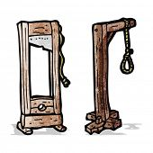 pic of guillotine  - cartoon guillotine and gaols - JPG