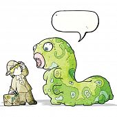 pic of caterpillar cartoon  - cartoon explorer boy and giant caterpillar - JPG