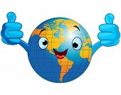 picture of hemisphere  - Cartoon world globe giving thumbs up - JPG