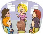 foto of counseling  - Illustration Featuring a Group of Women Attending a Counseling Session - JPG