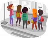 image of gathering  - Illustration Featuring a Group of Students Gathered in Front of a Bulletin Board - JPG