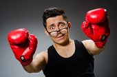 picture of boxers  - Funny boxer with red gloves against dark background - JPG