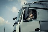 pic of truck-stop  - Portrait of a truck driver sitting in cab - JPG