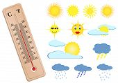 a thermometer and some weather elements poster