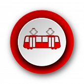 foto of tram  - tram red modern web icon on white background - JPG