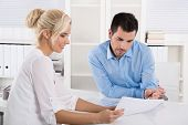 picture of counseling  - Customer and client sitting at desk or business people talking about finance - JPG