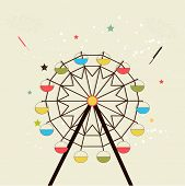 picture of navratri  - Illustration of a colourful swing with crackers and stars on dotted background - JPG