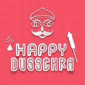 picture of ravan  - Stylish text of Dussehra with silwer under line - JPG