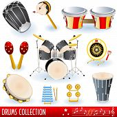 picture of timpani  - A  collection of drums musical instruments over white background - JPG