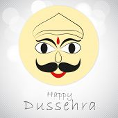 stock photo of ravana  - Kiddish face of Ravana with stylish text on linen background - JPG
