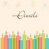 pic of laxmi  - Illustration of colorful illuminated candles with crackers and Diwali wishing text - JPG